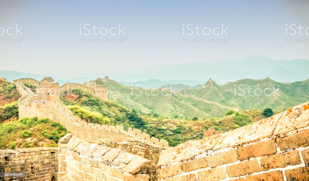 view on great wall by jinshanling with dreamy sky stock photo
