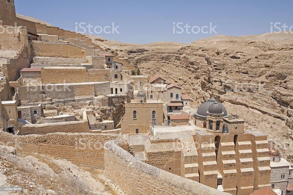 View on Greek Orthodox monastery Mar Saba in Judean desert royalty-free stock photo