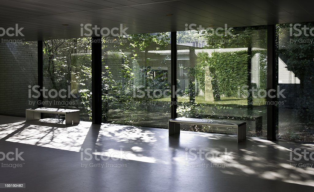 view on green courtyard stock photo