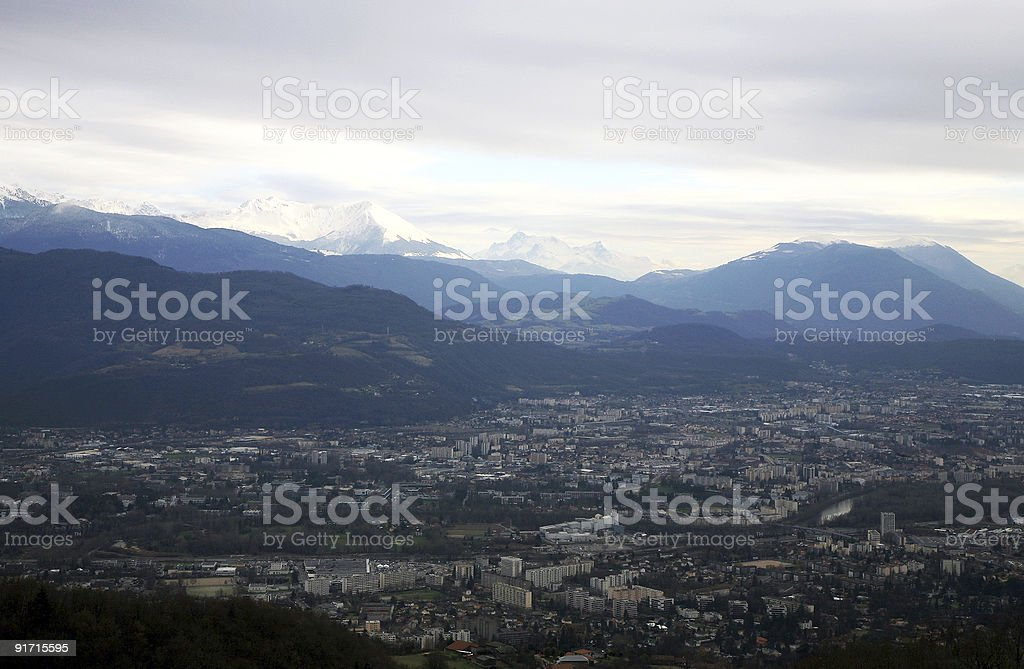 View on Grenoble and Alps - France royalty-free stock photo