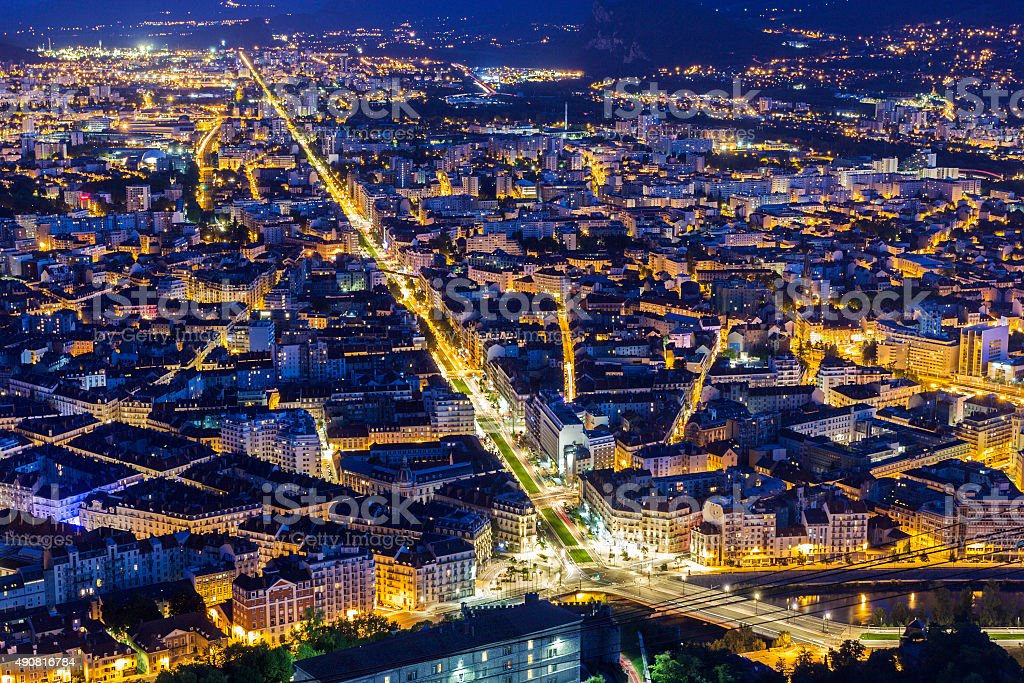 View on Grenoble in the evening, France stock photo