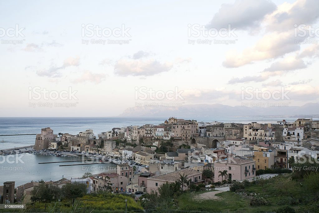 view on harbour of Castellammare del Golfo town, Sicily stock photo