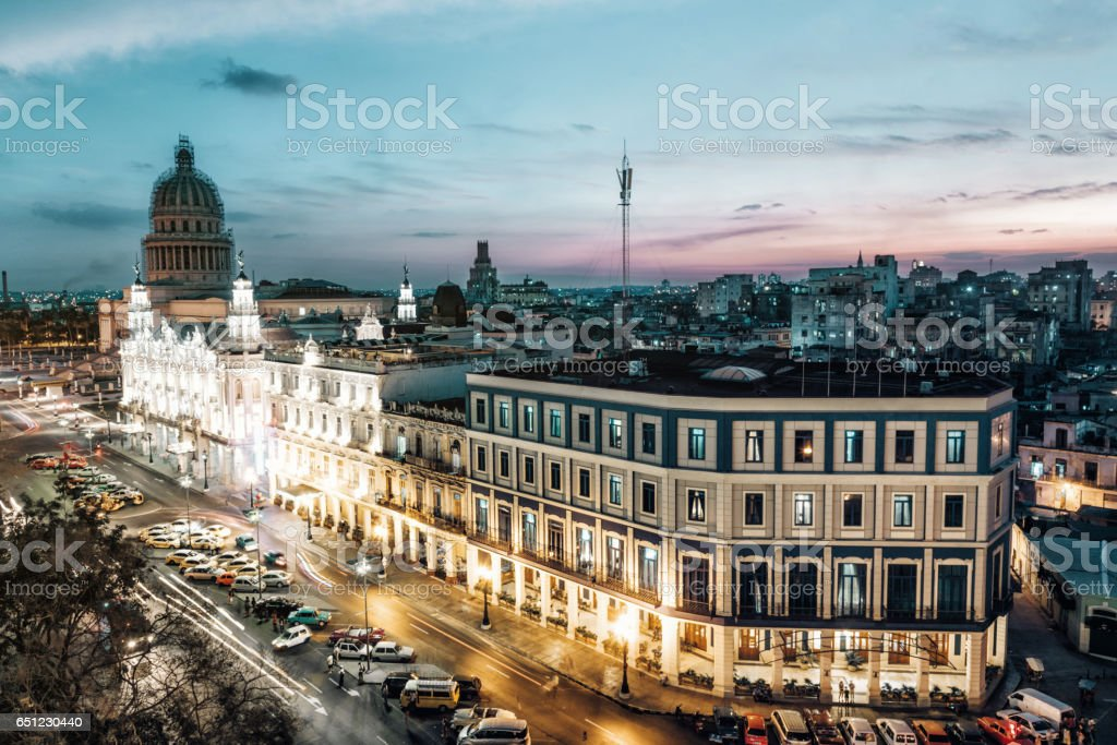view on Havvana Capitol and Theatre at blue hour stock photo