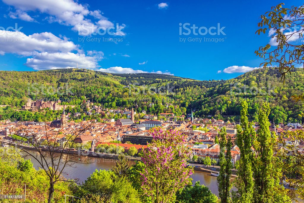 View on Heidelberg in early spring stock photo