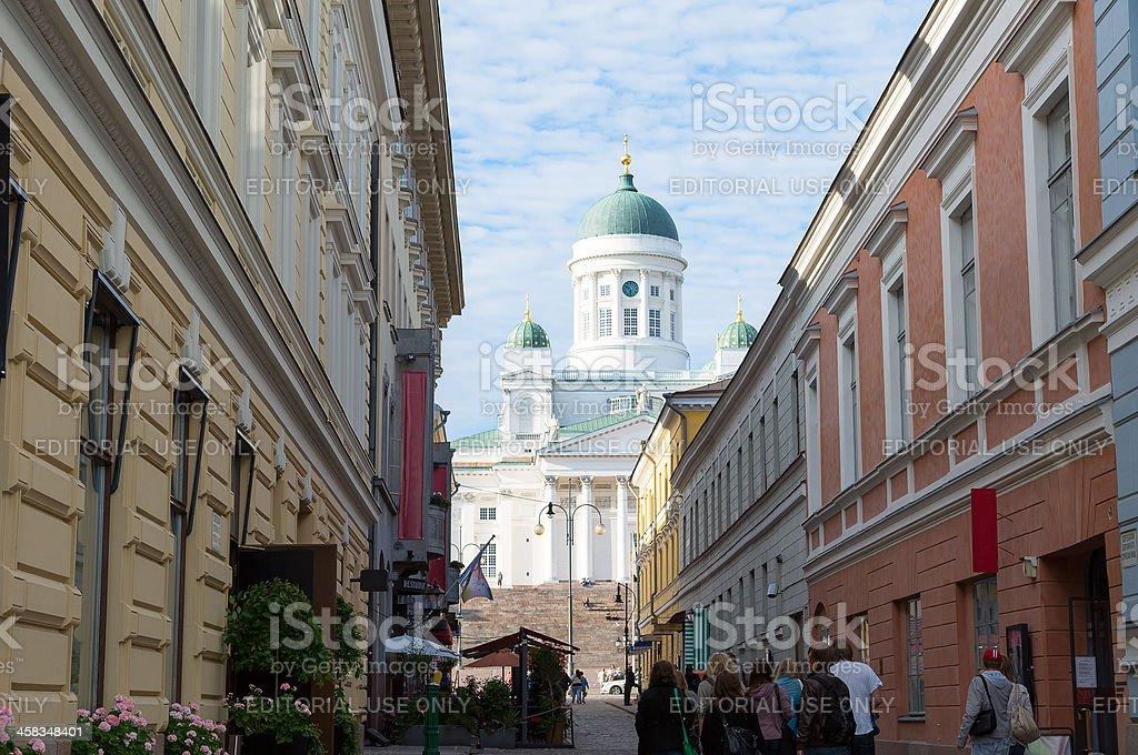View on Helsinki Cathedral from Sofiankatu street stock photo