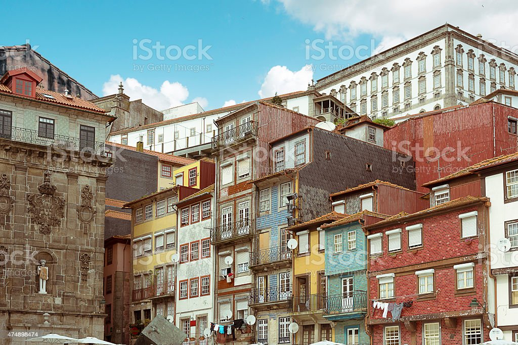 view on historic old colorful houses in Porto stock photo