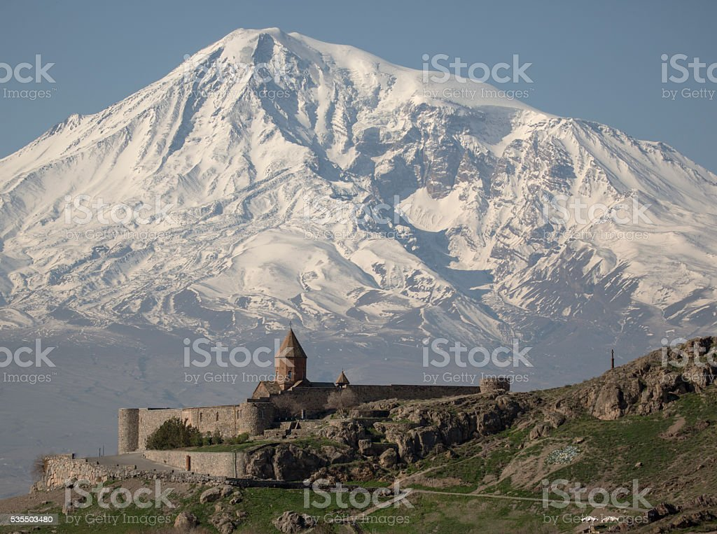 view on Hor Virap Monastery with Ararat Mount in background stock photo
