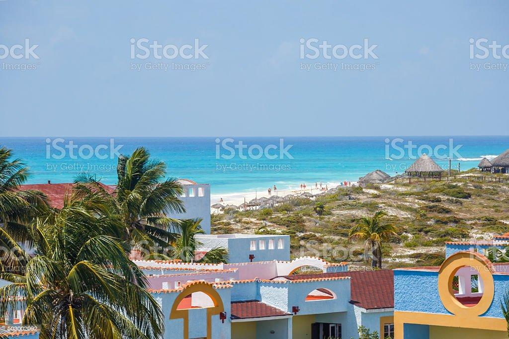 View on hotel, Cayo Largo, Cuba stock photo