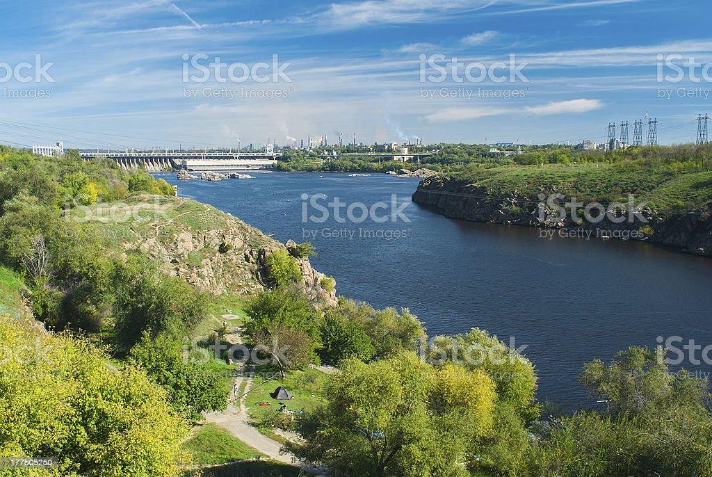 View on Hydroelectric Station dam in Zaporizhia city, Ukraine. stock photo