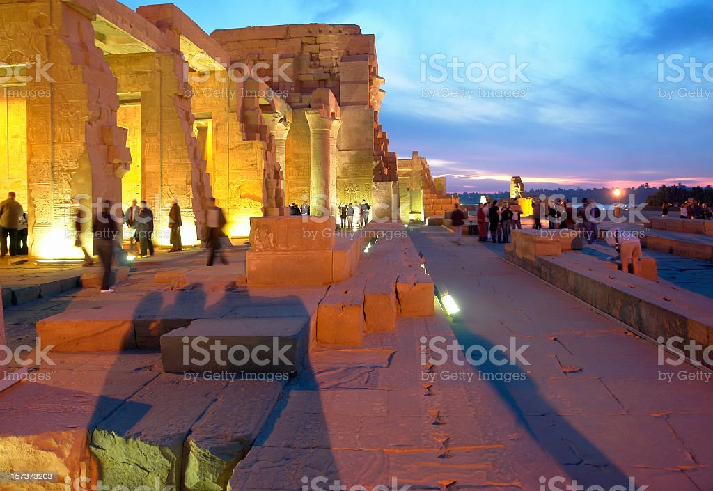 View on illuminated Kom Ombo Temple by night, Upper Egypt royalty-free stock photo