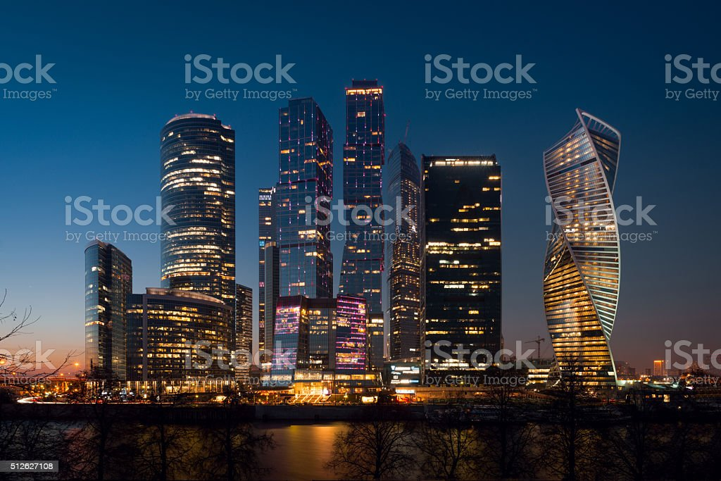 View on International Moscow City Business Center in the sunset stock photo