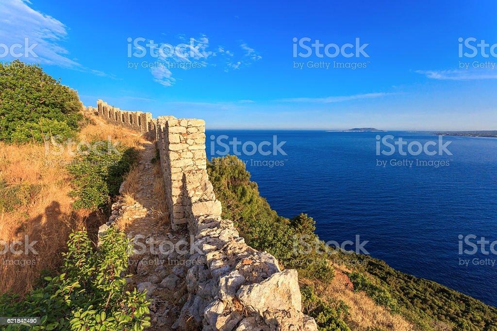 view on Ionian sea from Paleokastro stock photo