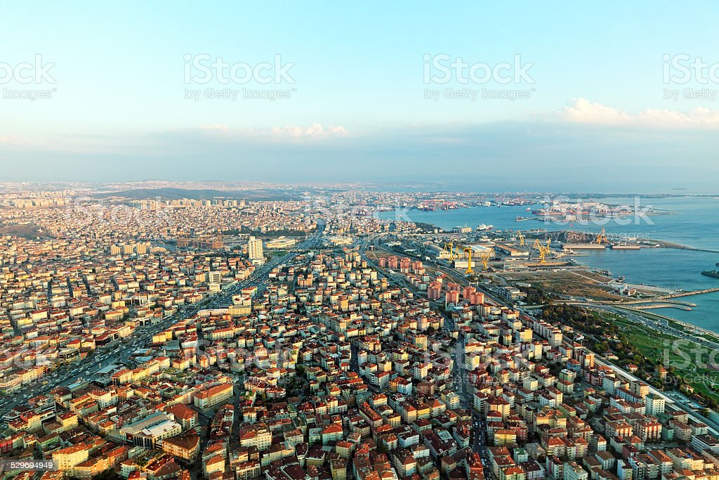 View on Istambul from airplane near Airport. stock photo