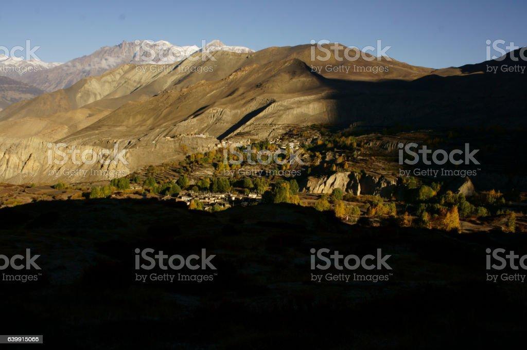 view on Jhong and Purang village and Jhong Khola valley stock photo