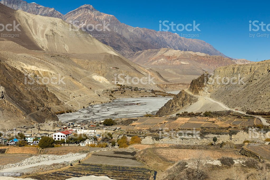 View on Kagbeni village located in the valley of the stock photo