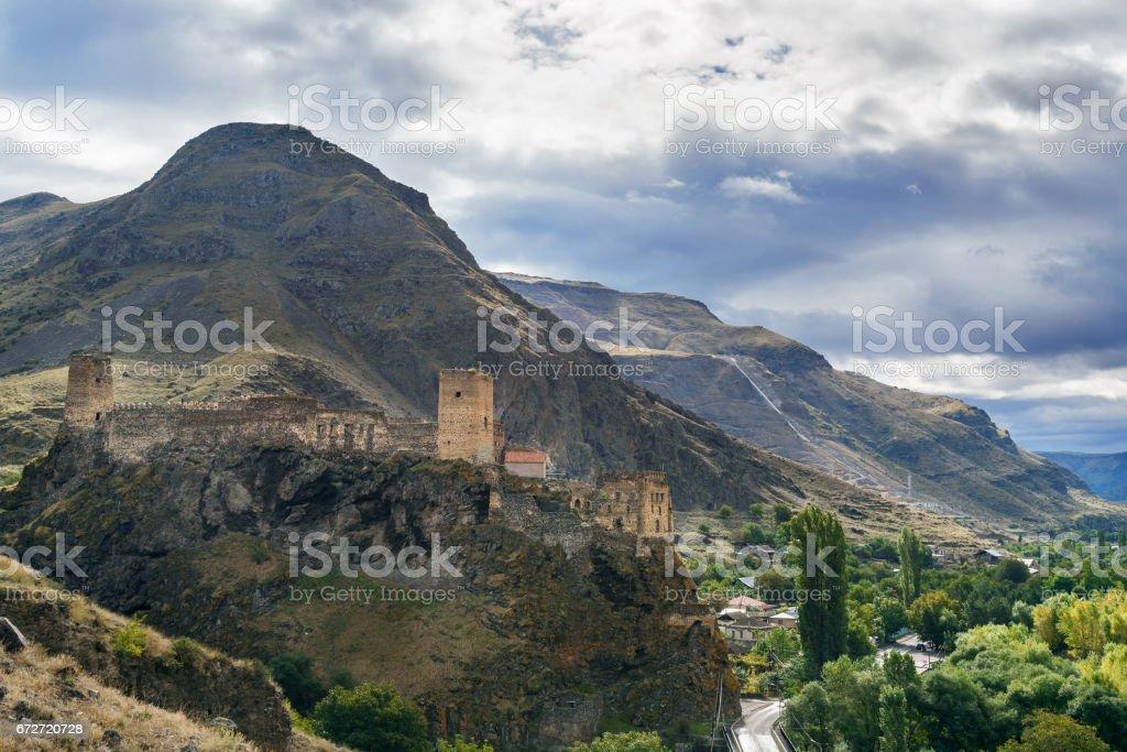 View on Khertvisi fortress on mountain. Georgia stock photo