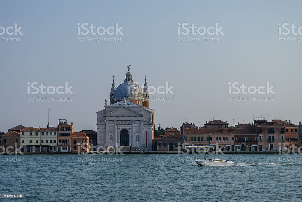View on La Giudecca island with basilica del Redentore stock photo