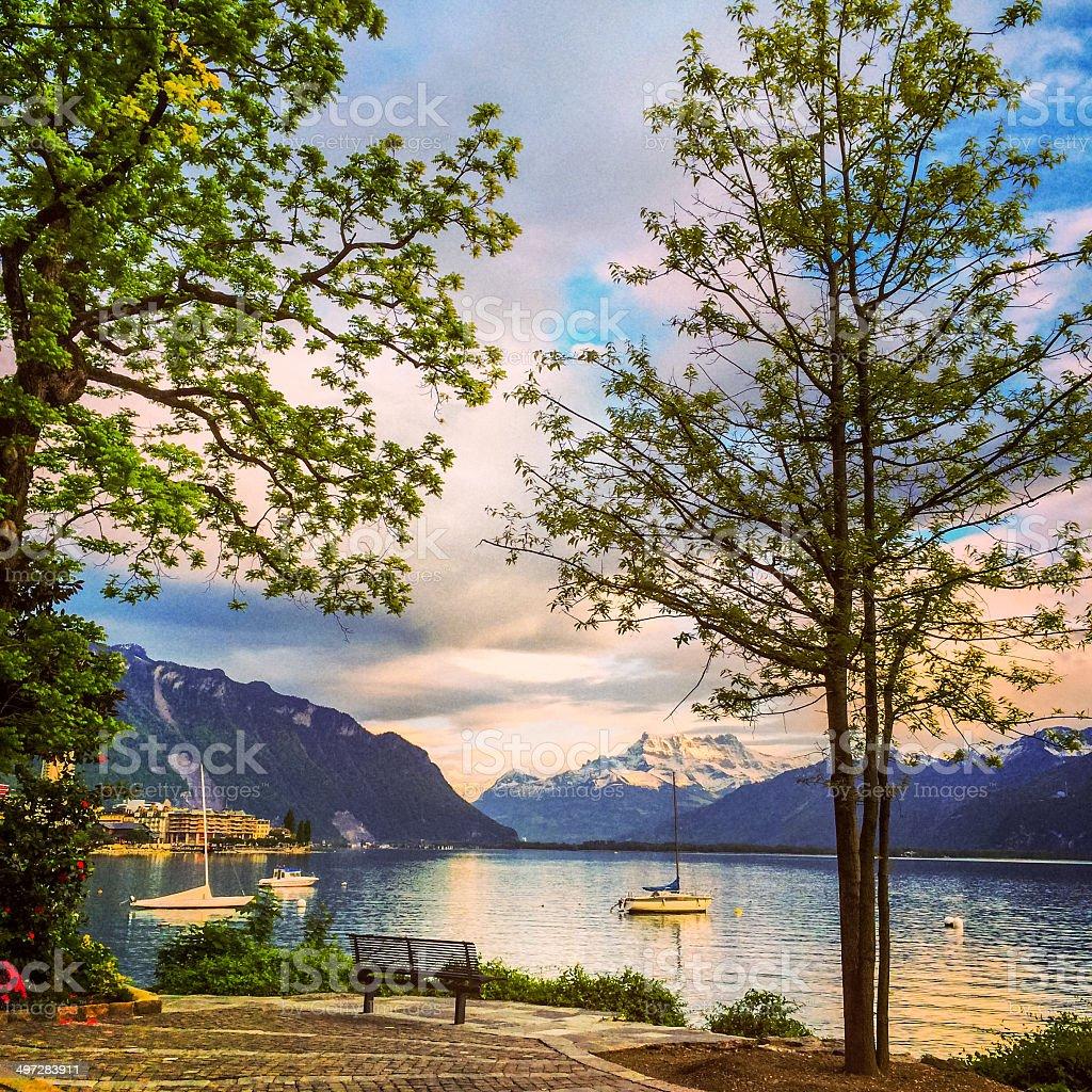 View on Lake Geneva, Montreux, Switzerland stock photo