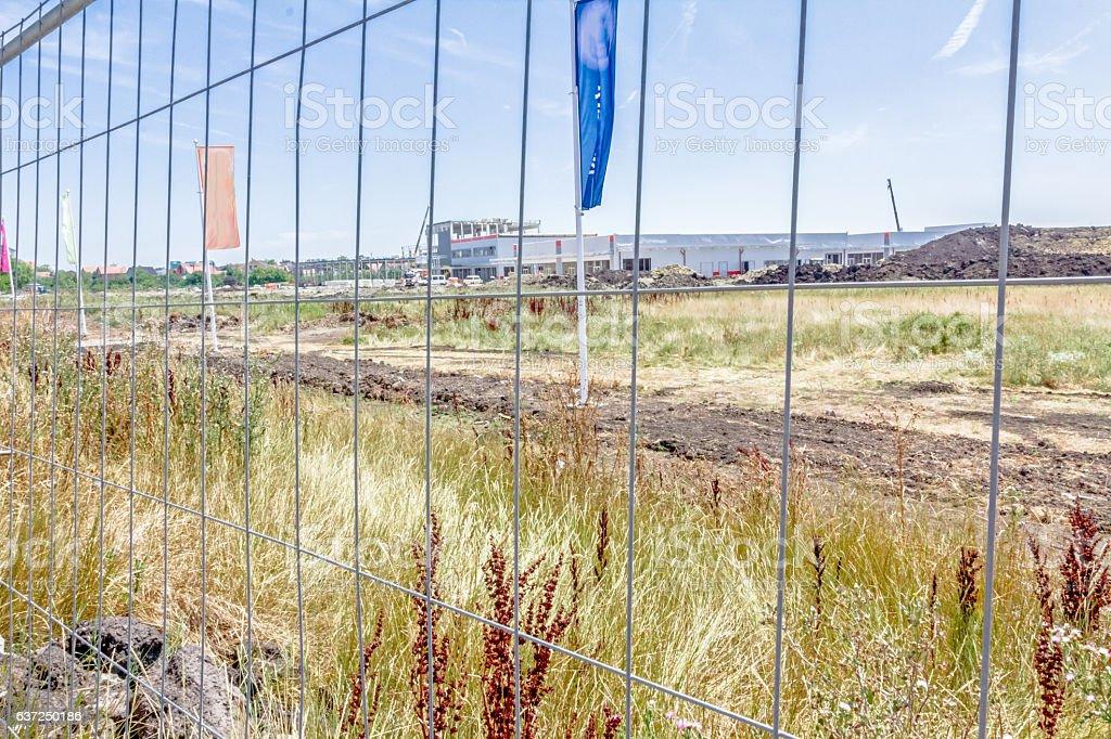 View on landscape transform into urban area, building site stock photo