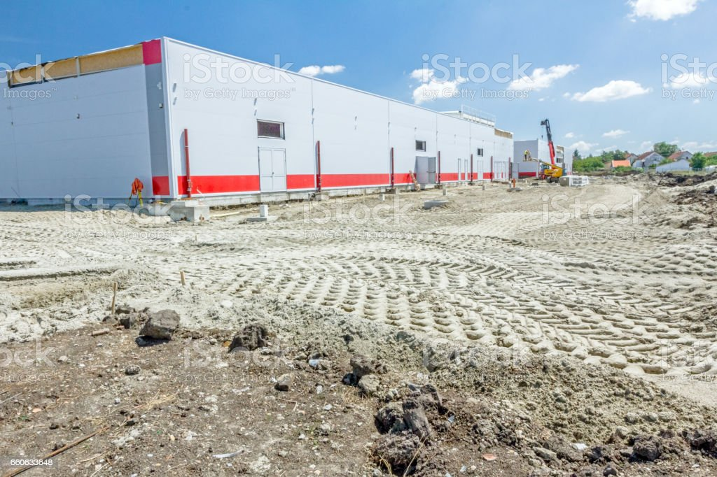 View on landscape transform into urban area stock photo