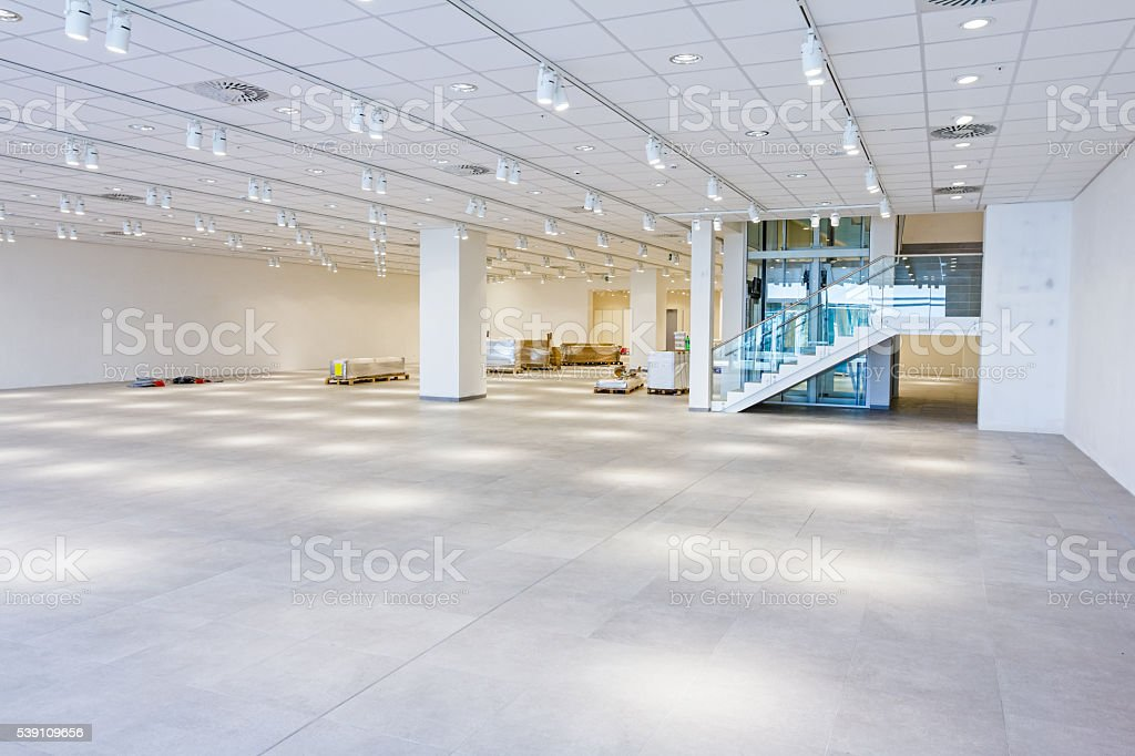 View on large showroom in a modern business centre stock photo
