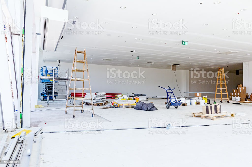 View on large showroom with painting equipment stock photo