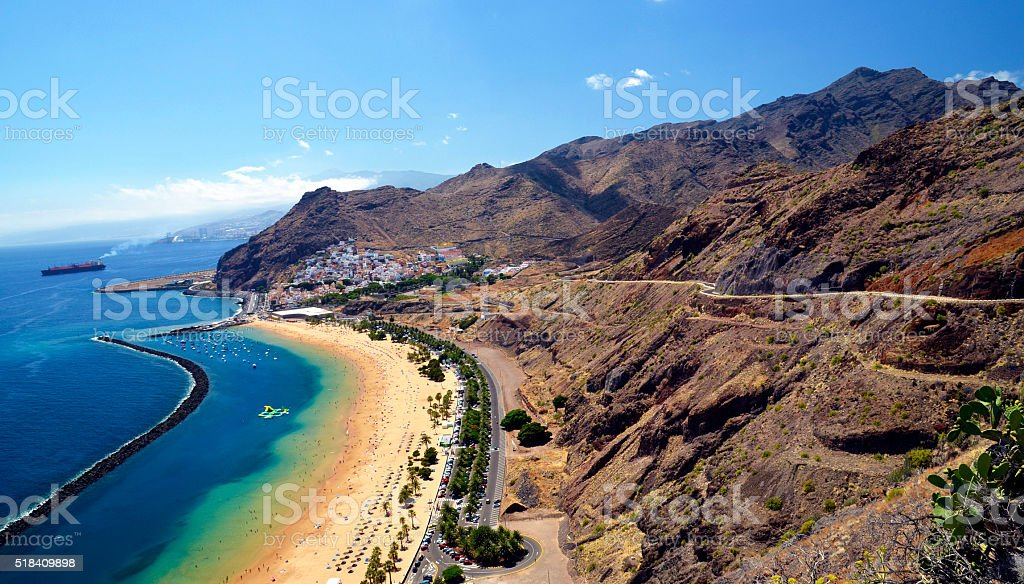 View on Las Teresitas beach inTenerife,Canary Islands,Spain. stock photo