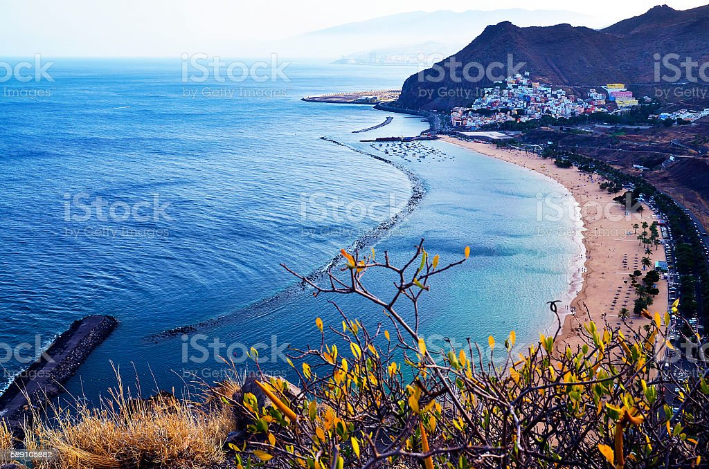 View on Las Teresitas beach near Santa Cruz de Tenerife. stock photo