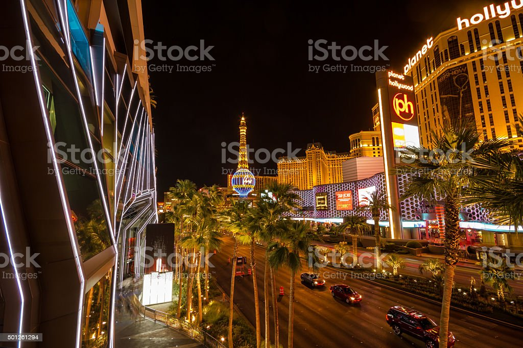 View on Las Vegas strip at night from bridge stock photo