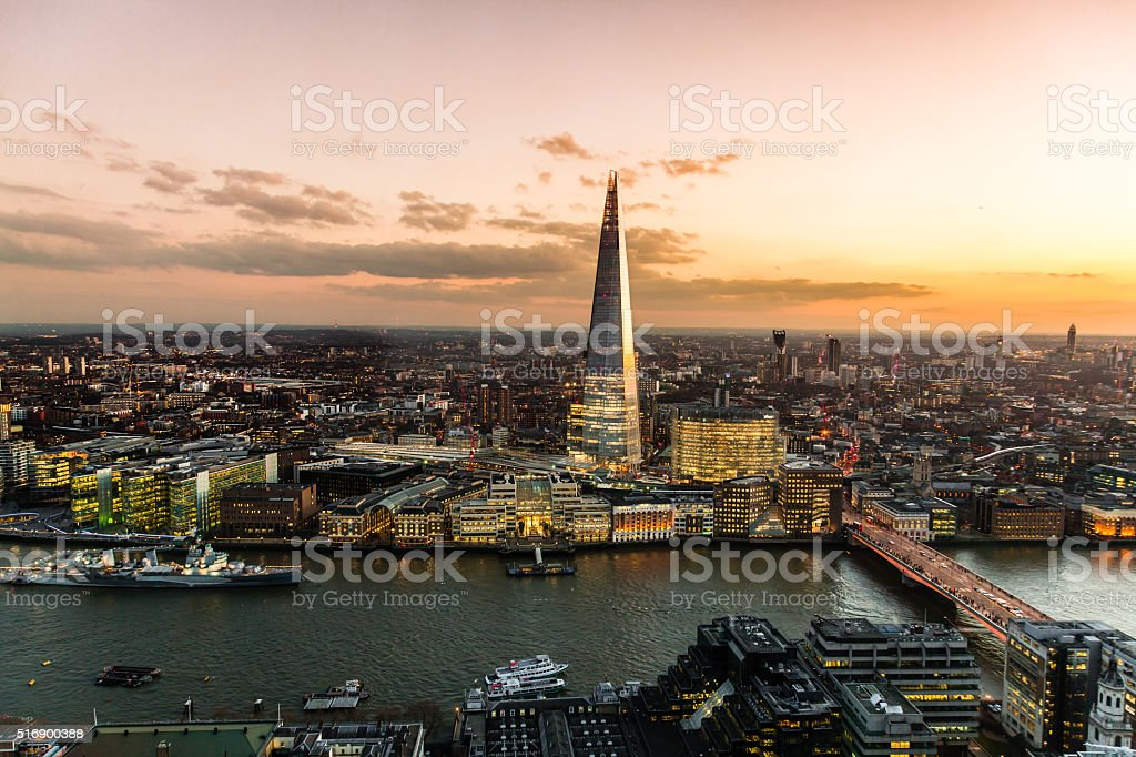 View on London at sunset, vibrant sky. stock photo