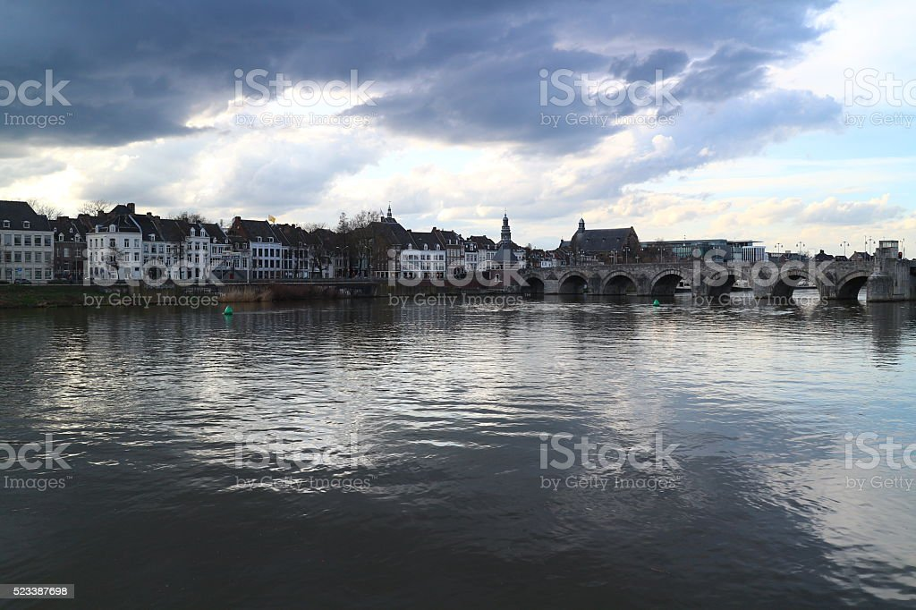 View on Maastricht and Meuse with dramatic lighting stock photo
