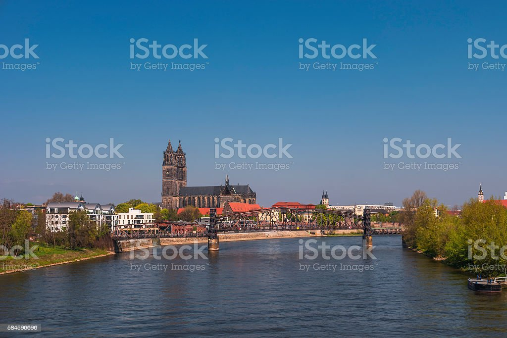 View on Magdeburg city and Elbe in Spring, Magdeburg, Germany stock photo