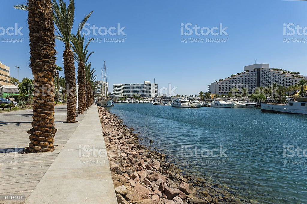 View on marina in Eilat royalty-free stock photo