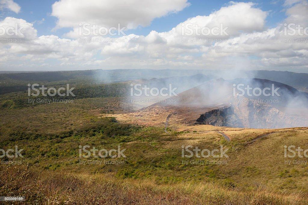 View on Masaya volcano crater in Nicaragua stock photo