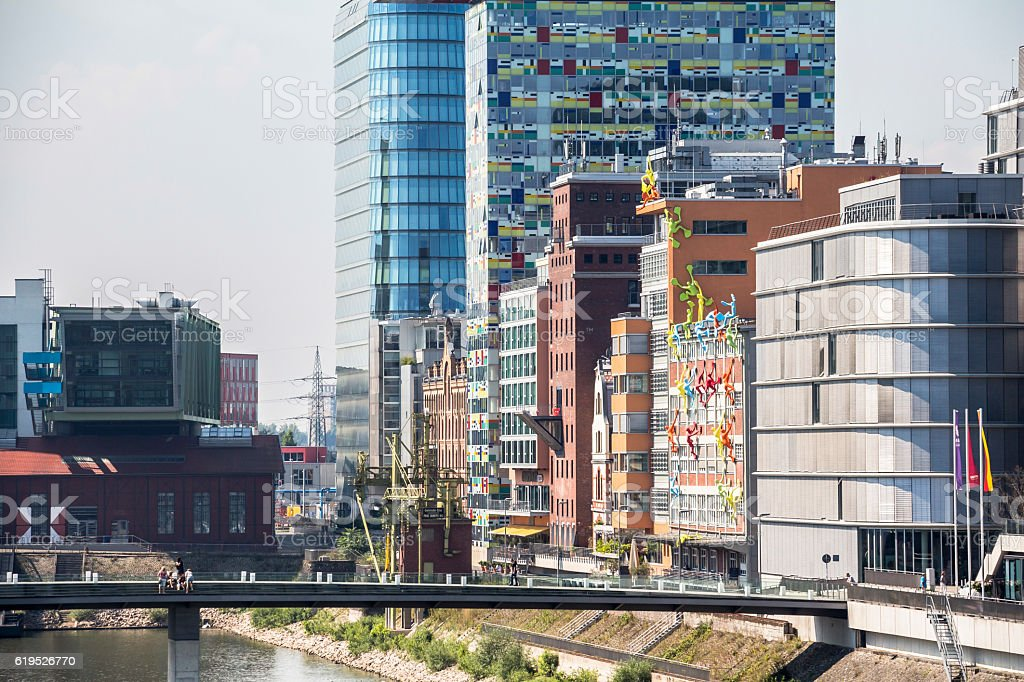 View on media harbour Dusseldorf from a bridge stock photo
