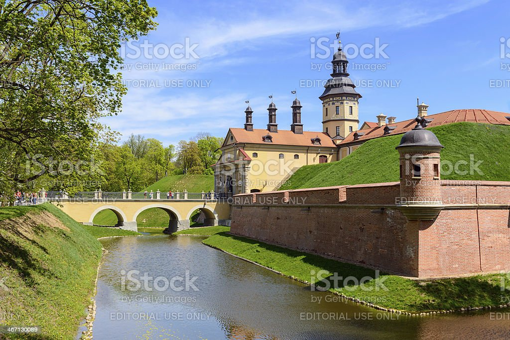 View on medieval castle Nesvizh. Belarus stock photo