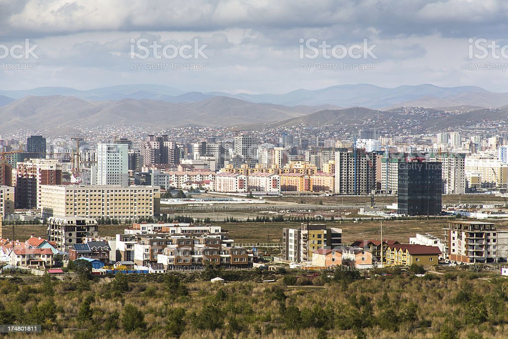 View on modern Ulan Bator Mongolia stock photo