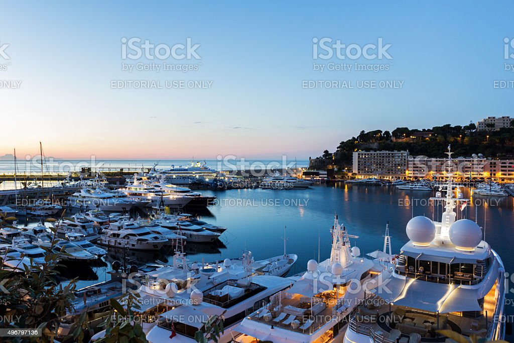 View on Monte Carlo's harbor in Monaco in the morning stock photo