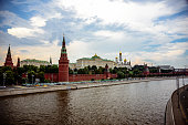 View on Moscow Kremlin and embankment from Greater Stone Bridge