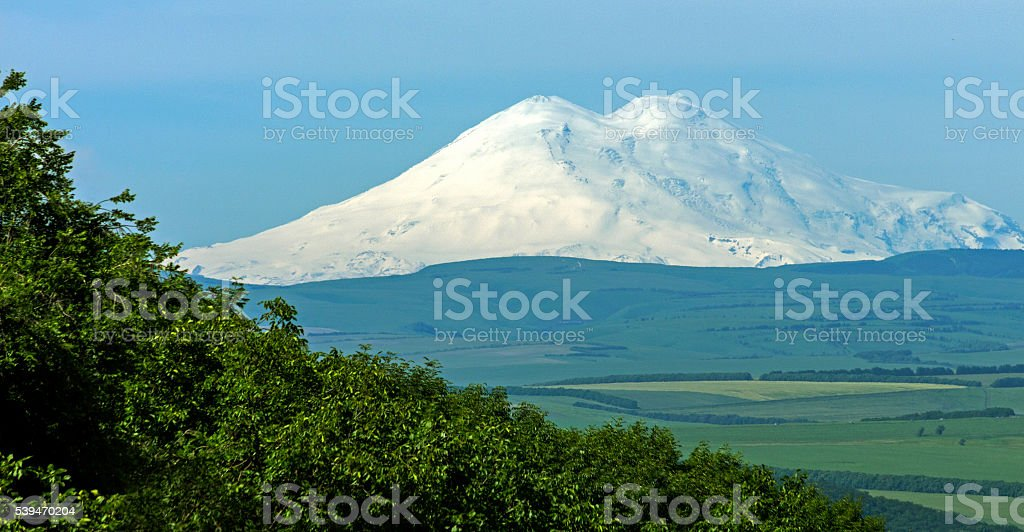 View On Mountain Elbrus of Pyatigorsk city stock photo