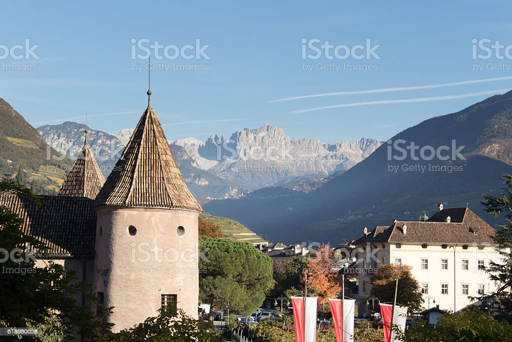 View on mountains from the city stock photo