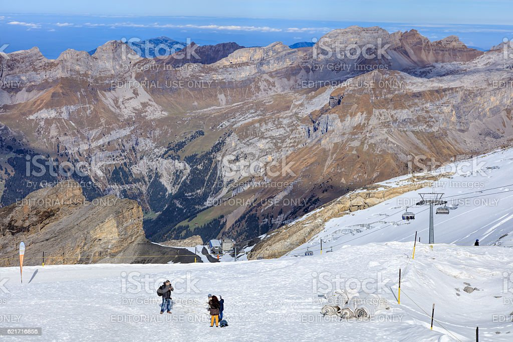 View on Mt. Titlis in Switzerland stock photo