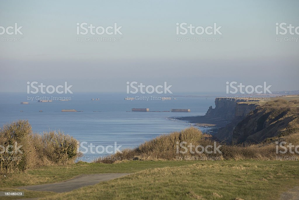 View on Mulberry Harbour in Arromanches, Normandy - France royalty-free stock photo