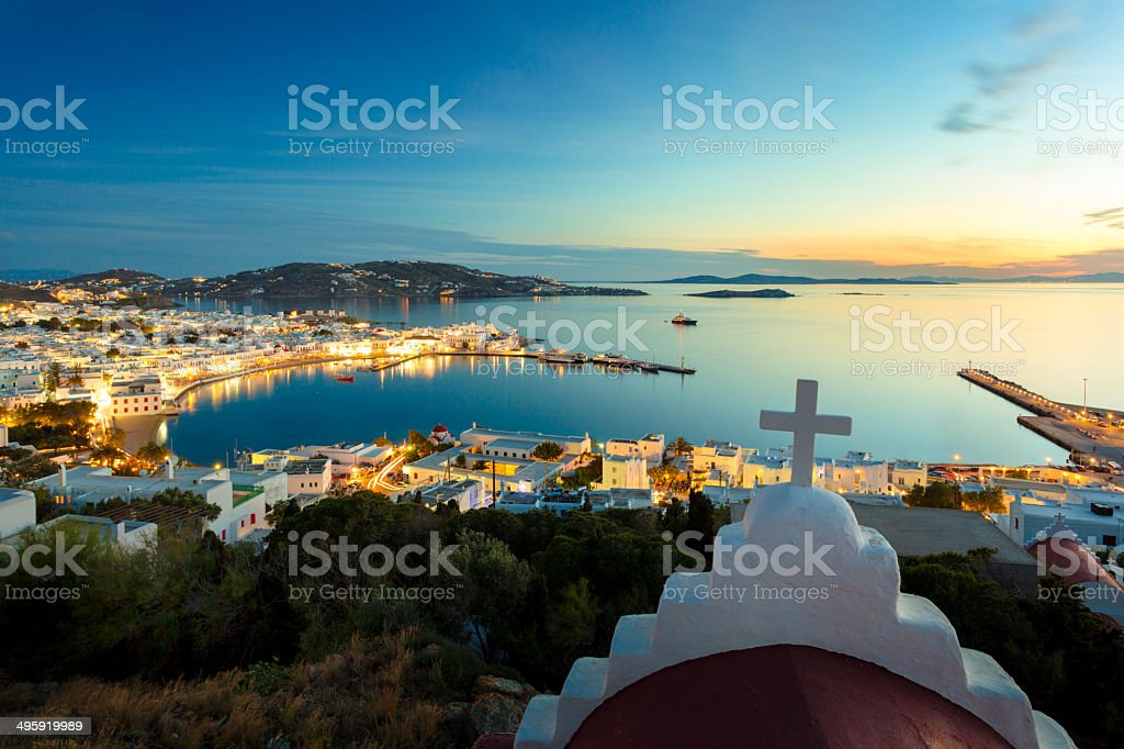View on Mykonos town in Greece stock photo