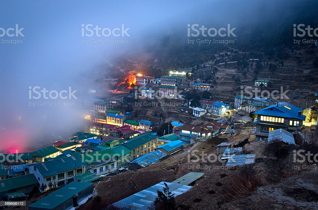 View on Namche Bazar, Khumbu district, Himalayas, Nepal stock photo