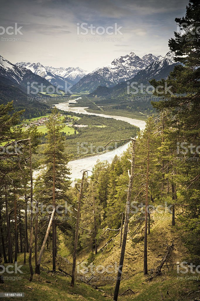 view on natural lechvalley, tirol, austria, vintage filtered stock photo