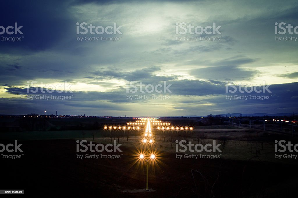 View on navigation lights at dusk stock photo