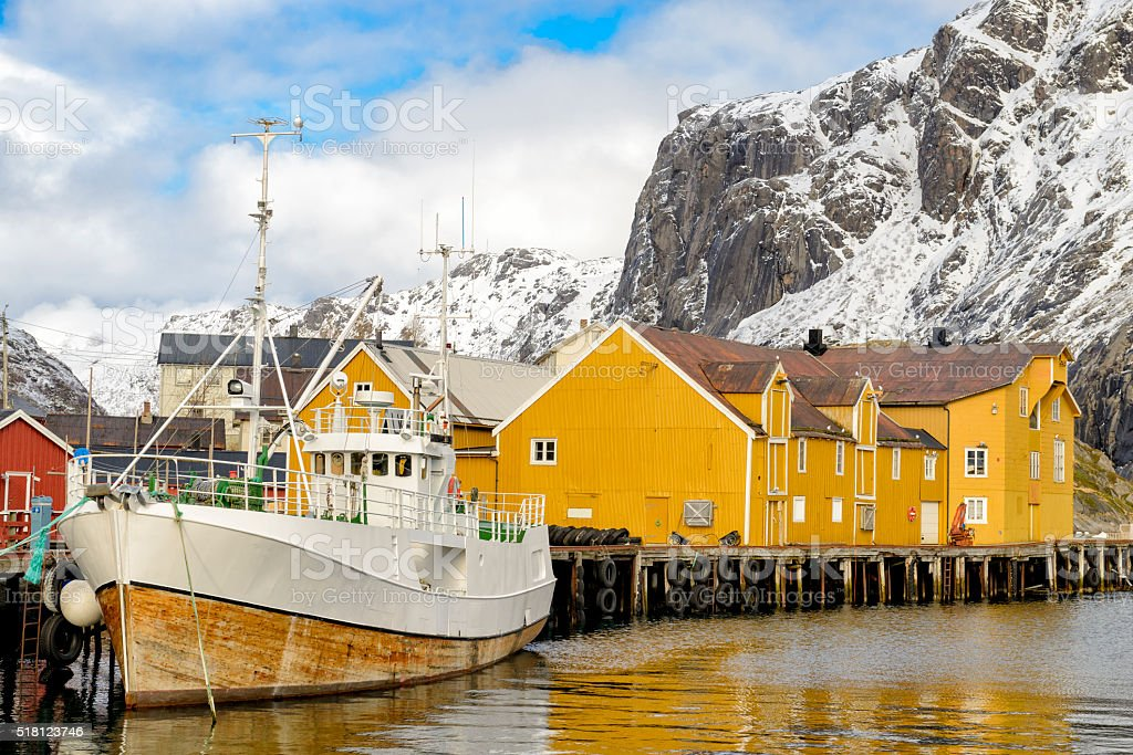 View on Nusfjord harbour in winter in the Lofoten, Norway stock photo