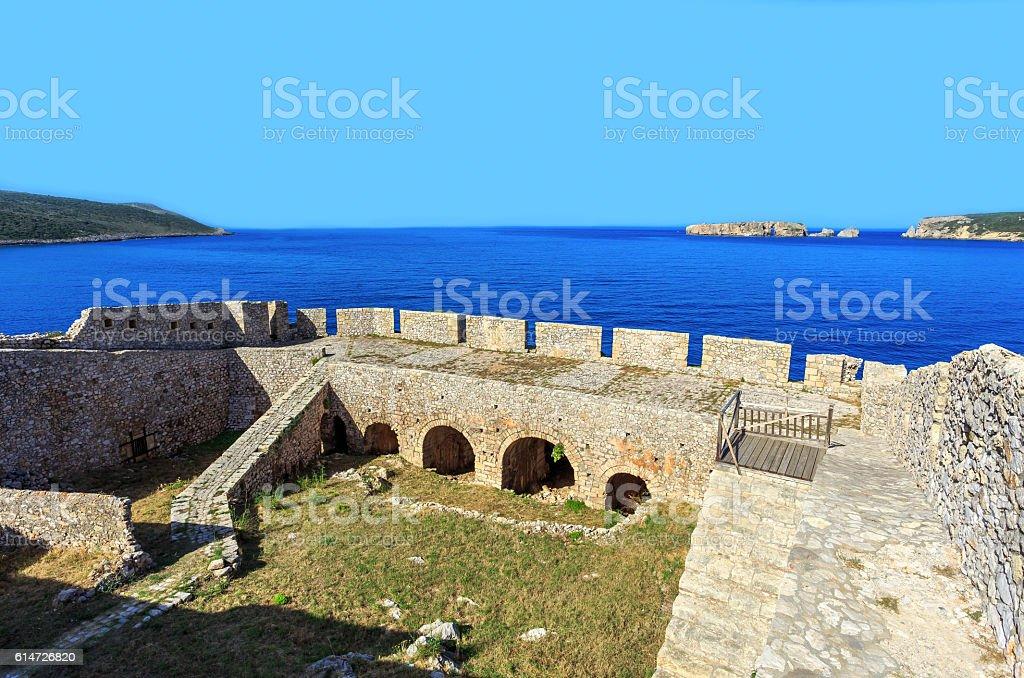 view on Nvarino bay inside the Neokastro fortress stock photo