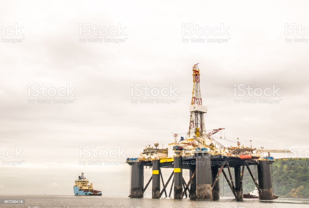 view on offshore oil rig in Scotland stock photo